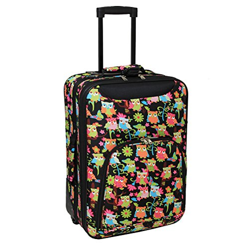 World Traveler 20 Inch Rolling Carry-On Luggage Suitcase, Multi Owl, One Size