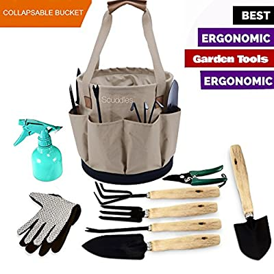 Scuddles Garden Tools 10 Gallon Collapsible Gardening Bag, Comes with Planting Tools, Shovel. Rake, Trowel, Pruner, Cultivator, Shears, 25 Oz Water Sprayer Great for Men/Wome
