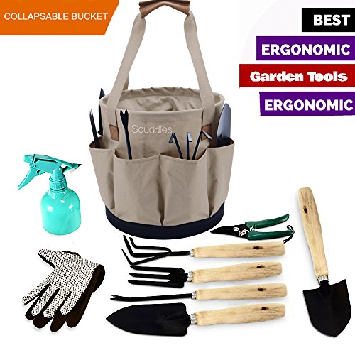 Scuddles Garden Tools Set - 9 Piece Gardening tools With Collapsible Storage Bucket Organizer, Ergonomic Hand Digging Weeder, Rake, Shovel, Trowel, Sprayer, Gloves Gift for Man & Women - Set Rake