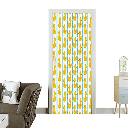 Homesonne Modern Art Door Sticker Yellow Duckies with Blue Stripes and Small Circles Baby Nursery Play Toys Environmentally Friendly decorationW17.1 x H78.7 INCH from Homesonne