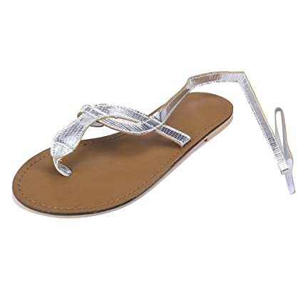 79c1a703304 Image Unavailable. Image not available for. Color: Women Thong Sandals Tie  Leg Flat ...