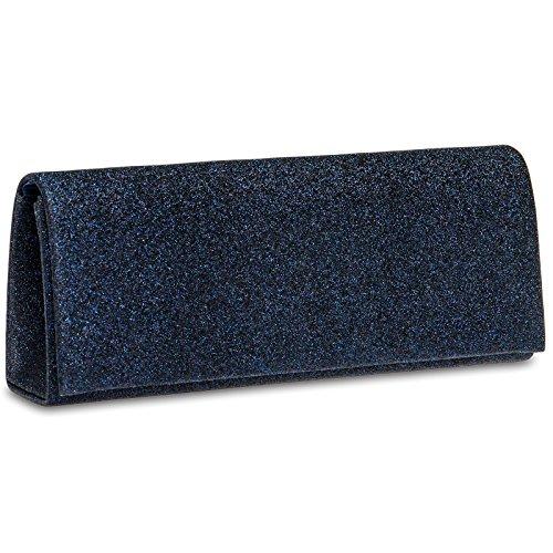 Hand Bag Blue With Dark Sheen Party Ta343 Clutch Woman Long Design Caspar For pqEx5U