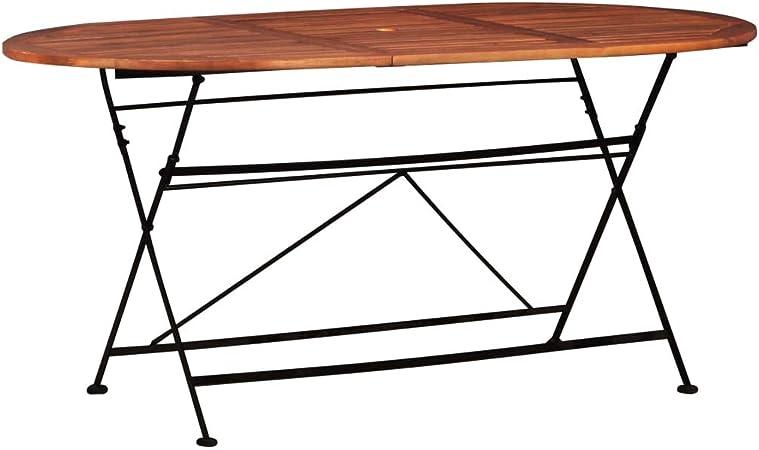 Acacia Garden Table de salle à manger d/'extérieur Mobilier en bois pliante ovale de terrasse en bois 160