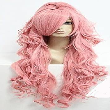 GSP-rosa peluca cosplay con cola de caballo muy largo ondulado animada pelo sintético de