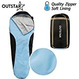 sleeping bag - OUTSTAR Lightweight Waterproof Mummy Sleeping Bag With Compression Sack for Kids or Adults Outdoor Camping, Travelling, Hiking & Backpacking (Lake Blue & Black / Left Zip)