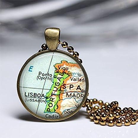 Portugal España mapa Vintage colgante, collar de mapa, cristal ...