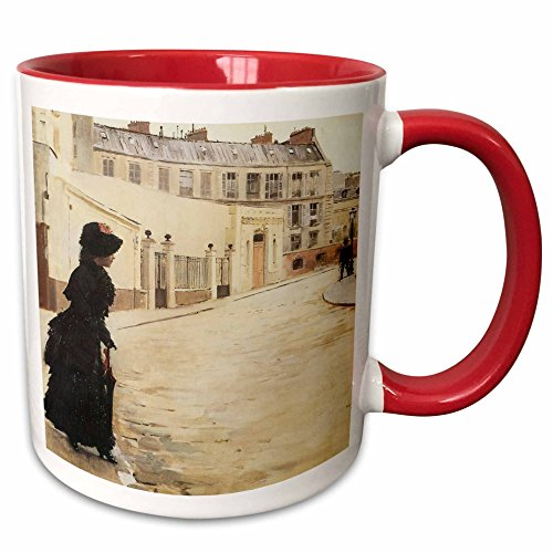 (3dRose BLN Impressionist Fine Art Collection - Waiting, Paris Rue De Chateaubriand by Jean Beraud - 15oz Two-Tone Red Mug)
