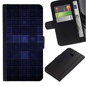 """HTC One M8 , la tarjeta de Crédito Slots PU Funda de cuero Monedero caso cubierta de piel ("""" Blue Dark Modern Wallpaper Checkered Square"""")"""