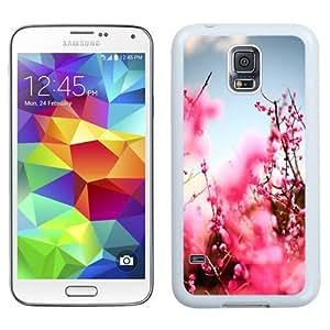 NEW Unique Custom Designed Samsung Galaxy S5 I9600 G900a G900v G900p G900t G900w Phone Case With Pink Cherry Blossom Tree_White Phone Case