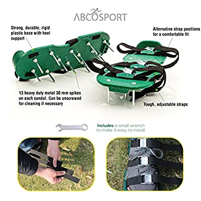 Lawn Aerator Spike Shoes - For Effectively Aerating Lawn, Soil – With 3 Adjustable Straps & Heavy Duty Metal Buckles – Universal Size that Fits all - For a Greener and Healthier Yard & Garden Tool