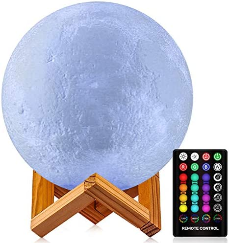 GDPETS Moon Lamp, 3-D Printing 16 Colors Moon Night Light with Stand & Remote &Touch Control and USB Rechargeable Decorative Light Up Moon Light for Baby Kids Lover Birthday Party Gifts(7.3 inch)