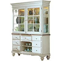 Hillsdale Pine Island Buffet and Hutch - Old White Finish