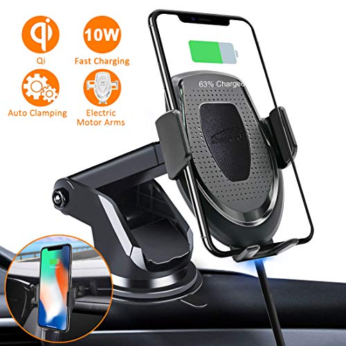 Wireless Car Charger Mount, 10W/7.5W Fast Charging Automatic Clamping Car Phone Holder Dashboard Air Vent Windshield Compatible for iPhone Xs Max/XR/X/8/8Plus Samsung S10/9/8 Note 9 and More(GIFT BOX)