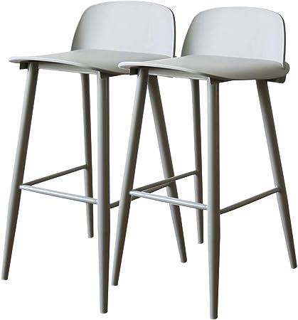Pack 2 taburetes modernos Asiento de plástico PP con respaldo y patas de metal (acero), Sillas de mostrador, Silla de comedor de cocina de café, Altura del asiento 65 cm: Amazon.es: Hogar