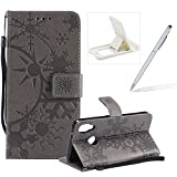 Strap Leather Case for Huawei P20 Lite,Wallet Leather Case for Huawei P20 Lite,Herzzer Premium Stylish Creative Grey Art Painted Magnetic Bookstyle Flip Portable Stand Case with Soft Rubber Card Holder Slots