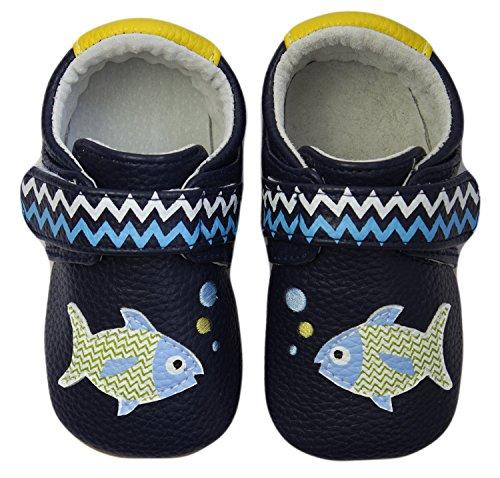 Rose & Chocolat Rcm Polka Fish Blue - Zapatos para bebes Bebé-Niños Azul (navy)