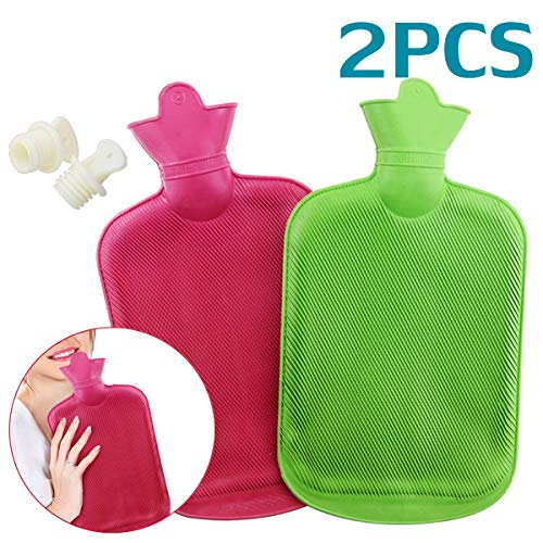WTSHOP 2 Pack Premium Simple Rubber 2L Hot Water Bag(a red one and a Green one),Great for Pain Relief, Hot and Cold Therapy,Natural Rubber BPA Free- Durable Hot Water Bottle