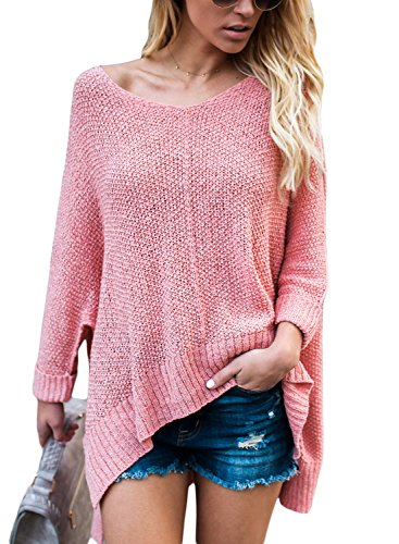 HOTAPEI Women's Oversized Off Shoulder Loose Knit High low Slit Side V Neck Pullover Sweaters