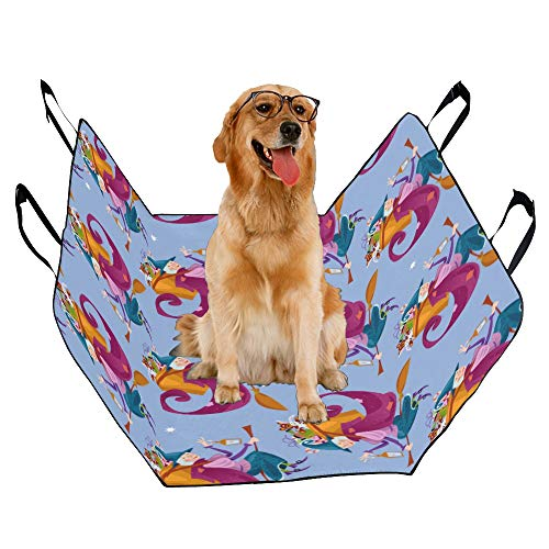 JTMOVING Fashion Oxford Pet Car Seat Broom Home Supplies Hand-Painted Waterproof Nonslip Canine Pet Dog Bed Hammock Convertible for Cars Trucks SUV