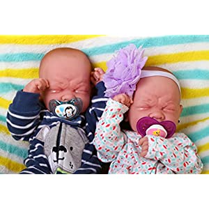 "Reborn babies twins boy & girl preemie anatomically correct Washable Berenguer Realistic 14"" Real Soft Vinyl LifeLike Pacifier Doll"