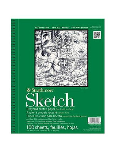 Strathmore Series 400 Premium Recycled Sketch Pads 9 in. x 12 in. pad 100 sheets [PACK OF 2 (400 Series Recycled Sketch Pad)