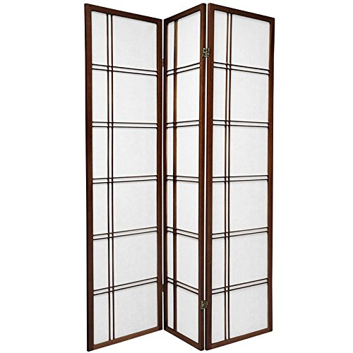 Oriental Furniture Simple Best Price Quality Deal Room Divider, 6-Feet Double Cross Folding Shoji Privacy Floor Screen, 3 Panel Walnut SSCDBLX-3_Panel-Walnut