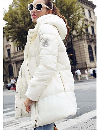 Simple Acrylic white Going TT Print Sleeves Coat Polypropylene Long amp;SHANGYI Others Striped Down Active Women's Cotton out l Solid Yx77ITwqr1