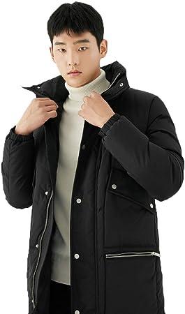 Lhl Chaqueta Negra de Tendencia Camisa de Hombre con Capucha de algodón Negro con Capucha Gruesa Larga Chaqueta Blanca Pato Abajo Acolchado (Color : Black, Size : M): Amazon.es: Hogar