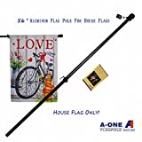 A-One 56'' Tangle Free Aluminum Flagpole for Grommet or House - American US Flag Pole Kit with Anti-wrap Sleeve, Stainless Steel Rust Prevention Clip & Decorative Ball, One Section, Black