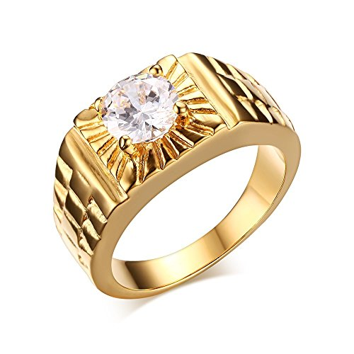 Stainless Steel Gold Plated White CZ Crystal Ring for Men Women Engagement Wedding Band
