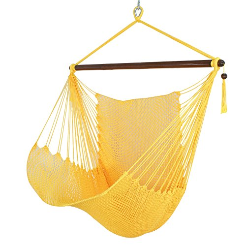 ZENY 48″ Hanging Caribbean Swing Polyester Hammock Chair w/Wide Seat (Yellow) For Sale