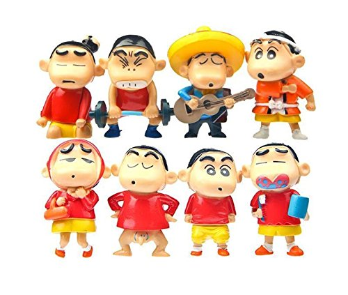 NEW 8pcs Japan Cartoon Anime Crayon Shin-chan Action Figure Figurine Kids Toy Gift