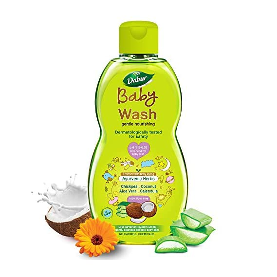 Dabur Baby Wash: With No Harmful Chemicals & Tear Free Formula  Contains Aloe Vera & Calendula   pH balanced , Hypoallergenic & Dermatologically Tested with No Paraben & Phthalates - 200 ml