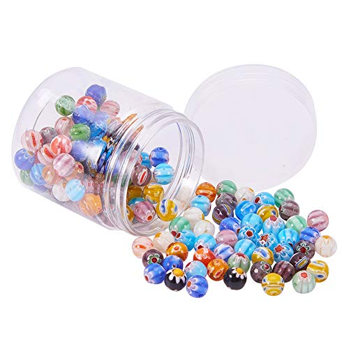(PandaHall Elite About 144 Pcs Millefiori Lampwork Glass Beads Round Flower Spacer Bead 18 Styles Diameter 8mm for Jewelry Making Mixed Colors)
