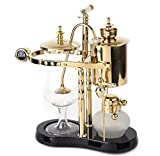 Diguo Belgian/Belgium Luxury Royal Family Balance Siphon/Syphon Coffee Maker. Elegant Double Ridged Fulcrum with Tee handle (Classic Gold)