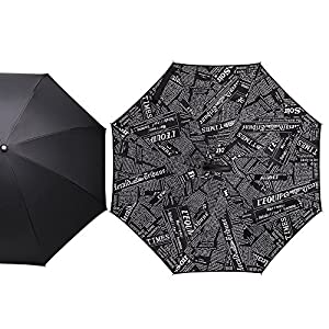 Zameka Double Layer Inverted Umbrellas Reverse Folding Umbrella Windproof UV Protection Big Straight Umbrella Inside Out Upside Down for Car Rain Outdoor With C-Shaped Handle