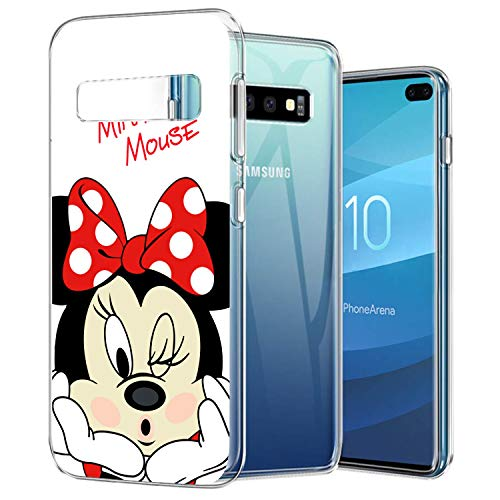 DISNEY COLLECTION Crystal Phone Case Compatible Samsung Galaxy S10 Plus Clear Anti-Scratch Shock Absorption Minnie Design Cover