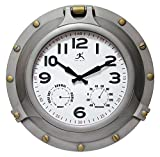Infinity Instruments Porthole Clock, Antique Silver