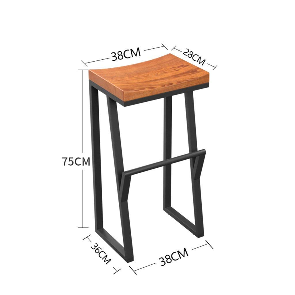363875cm SBBD Seat Chair-Bar Chair Retro with Footrest Bar Chair Iron + Wood Creative High Stool Leisure Bar Barstool Coffee Chair -Sponge + Leatherette Solid Wood Chair Surface