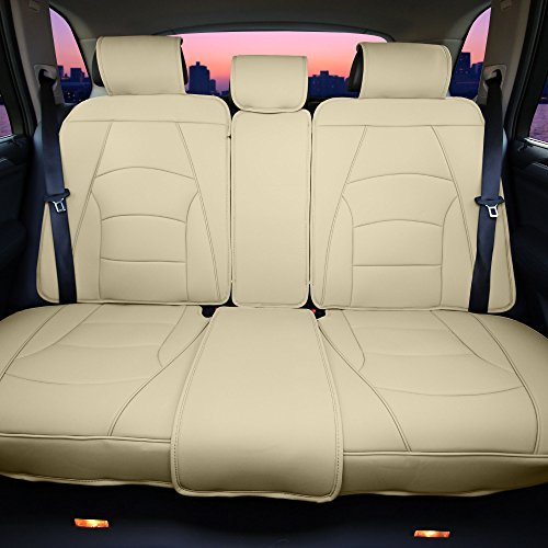 (FH Group PU205013SOLIDBEIGE Bench PU205SOLIDBEIGE013 Ultra Comfort Leatherette Rear Seat Cushions Solid Beige)