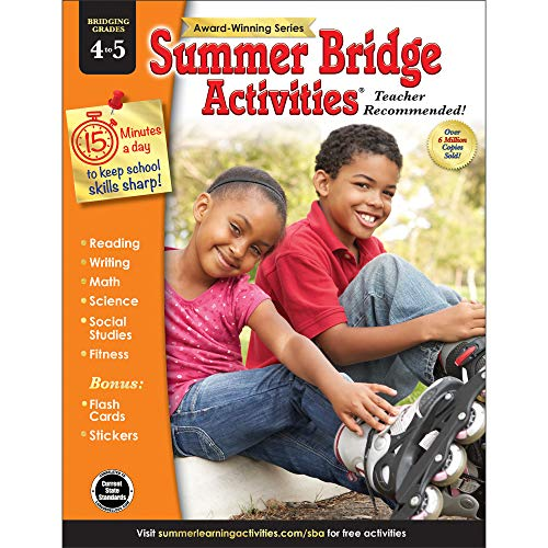 Summer Bridge Activities - Grades 4 - 5, Workbook for Summer Learning Loss, Math, Reading, Writing and More with Flash Cards and Stickers