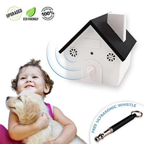 Bark Dog Whistle (Upgraded Value Pack, Safe Ultrasonic Anti-Barking Dog Device with Sonic Whistle, Outdoor Bark Controller, Humane Sonic Bark Deterrent to Stop Barking, No Collar Hanging Birdhouse Design Training Dogs)
