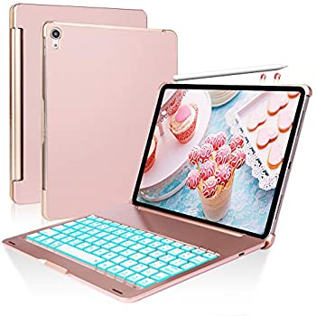 iPad Keyboard Case for iPad Pro 11 inch, Protective Auto Sleep Wake Hard Shell Case and 7 Colors Backlit Wireless Bluetooth Keyboard Combo- 2018 iPad Pro ...