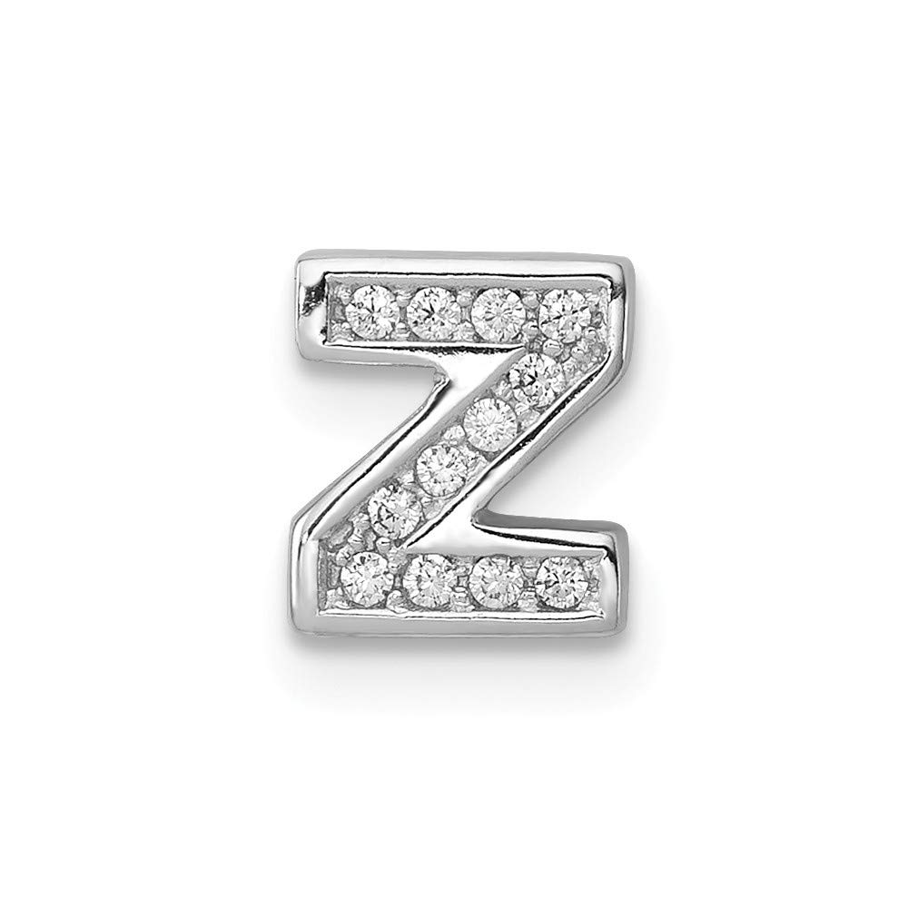 Jewel Tie Sterling Silver CZ Cubic Zirconia Letter Z Slide Pendant Charm