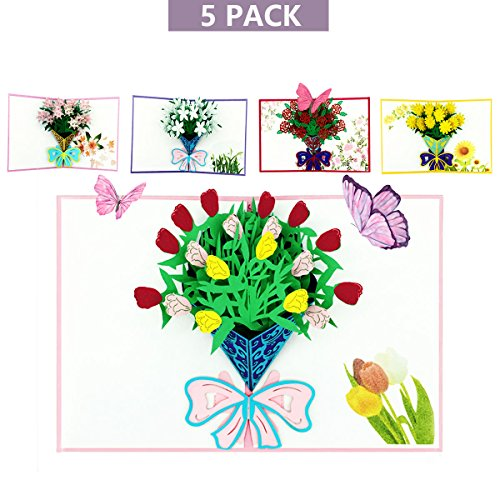 Flower Pop Up Cards for Mothers' Day, Lamdico 3D Greeting Cards with 5 Mixed Flower Include Carnation, Hand Assembled Bouquets Greeting Cards for Holiday, All Occasion, Birthday Gift Cards