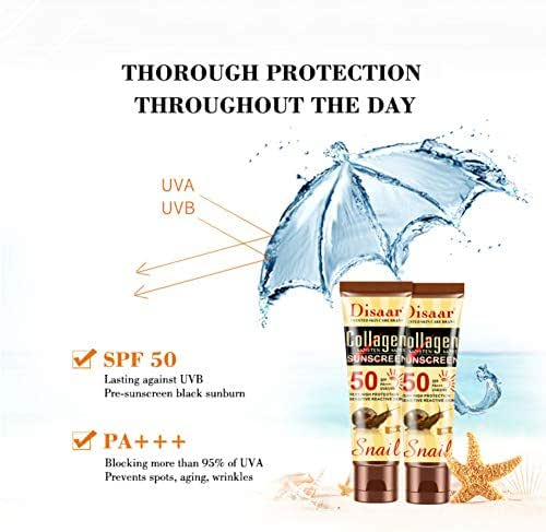 Angmile Collagen Natural Snail Essence Sunscreen Hydrating Anti-uva Anti-UVB Whitening Sunscreen For Body Face SPF 50 PA+++