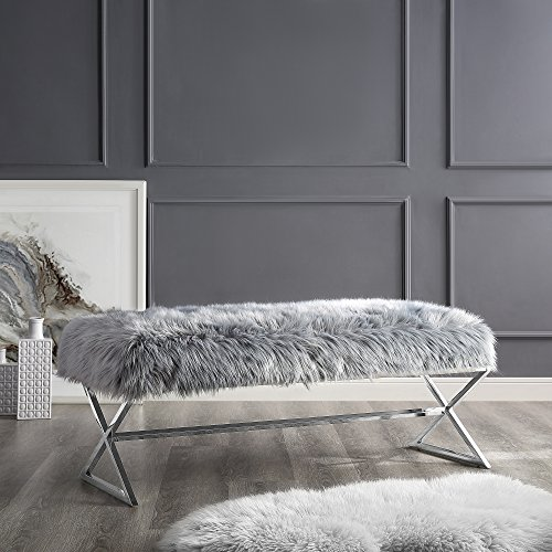 Aurora Grey Fur Upholstered Bench - Stainless Steel Legs | Chrome Tone | Living-room, Entryway, Bedroom | Inspired Home - Bedroom Chrome Bed