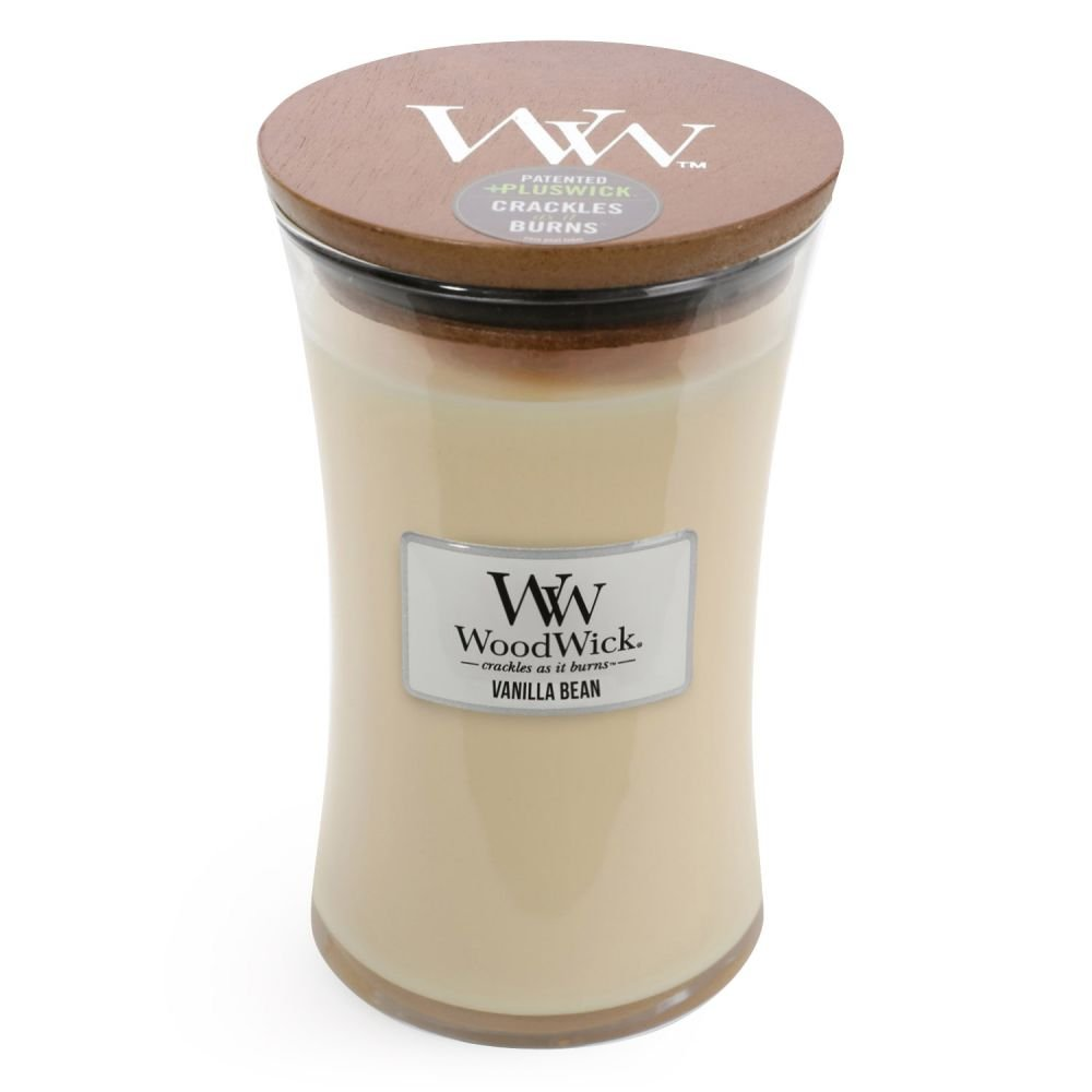 WoodWick Vanilla Bean Glass Jar Scented Candle, Large 22 oz.