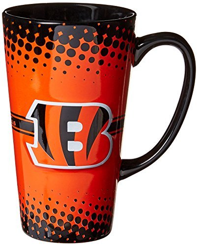 Boelter Brands NFL Cincinnati Bengals Sculpted Latte Mug, 16-Ounce
