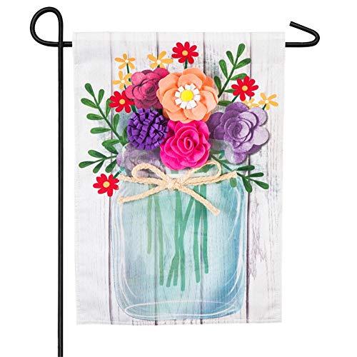 Evergreen Mason Jar Bouquet Linen Garden Flag